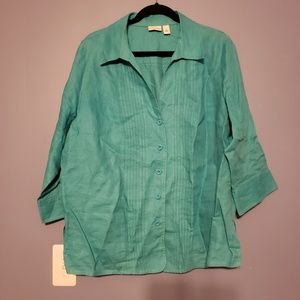Turquoise button down, pleated linen shirt